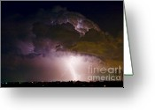 Supercell Greeting Cards - HWY 52 - 08-15-2010 Lightning Storm Image 42 Greeting Card by James Bo Insogna