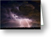 The Lightning Man Greeting Cards - HWY 52 - HWY 287 Lightning Storm Image 29 Greeting Card by James Bo Insogna
