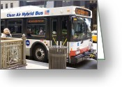 Environment-friendly Greeting Cards - Hybrid Bus In Chicago Greeting Card by Mark Williamson