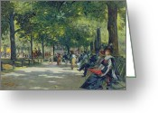 Signature Painting Greeting Cards - Hyde Park - London  Greeting Card by Count Girolamo Pieri Nerli