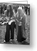 Straight Hair Greeting Cards - Hyde Park Hippies Greeting Card by Ian Showell