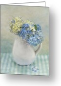 Chic Greeting Cards - Hydrangea Morning Greeting Card by Robin-lee Vieira