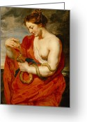 Drapery Greeting Cards - Hygeia - Goddess of Health Greeting Card by Peter Paul Rubens