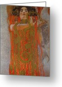 Snake Painting Greeting Cards - Hygieia Greeting Card by Gustav Klimt