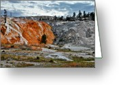 Terraces Greeting Cards - Hymen Terrace at Mammoth Hot Springs - Yellowstone National Park WY Greeting Card by Christine Till