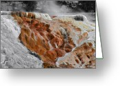 Geothermal Greeting Cards - Hymen Terrace Mammoth Hot Springs Yellowstone Park WY Greeting Card by Christine Till