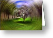 Portal Greeting Cards - Hypnotic Swirl Greeting Card by Lourry Legarde