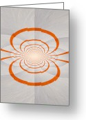 Orange Grey Greeting Cards - Hypnotica VII Greeting Card by Michelle Calkins