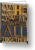 Letterpress Greeting Cards - I am He Greeting Card by Russell Pierce