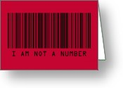 Red Lines Greeting Cards - I Am Not A Number Greeting Card by Michael Tompsett