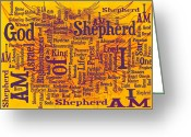Vine Mixed Media Greeting Cards - I Am Shepherd 2 Greeting Card by Angelina Vick