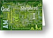 Vine Mixed Media Greeting Cards - I Am Shepherd Greeting Card by Angelina Vick