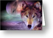 Howling Wolf Greeting Cards - I Am Wolf Greeting Card by Carol Cavalaris