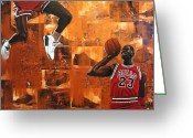 Basketball Greeting Cards - I Believe I Can Fly - Michael Jordan Greeting Card by Ryan Jones