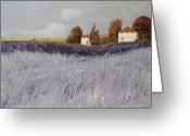 Grey Painting Greeting Cards - I Campi Di Lavanda Greeting Card by Guido Borelli