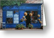 Street Scene Greeting Cards - I Cappelli Gialli Greeting Card by Guido Borelli