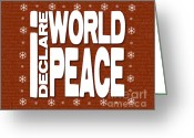 Kwanzaa Greeting Cards - I Declare World Peace Seasons Greeting Card Greeting Card by RC Gelber