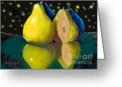 Two Pears Greeting Cards - I Dream of Pears Greeting Card by Dessie Durham
