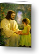 Little Girl Greeting Cards - I Feel My Saviors Love Greeting Card by Greg Olsen