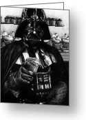 Drawings Drawings Greeting Cards - I Find Your Lack of Hunger Disturbing - Darth Vader  Greeting Card by Ryan Jones