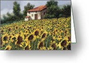 Farm Painting Greeting Cards - I Girasoli Nel Campo Greeting Card by Guido Borelli