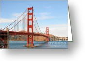 Red Bay Greeting Cards - I guard the California shore - Golden Gate Bridge San Francisco CA Greeting Card by Christine Till