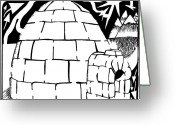 Learn To A Maze Greeting Cards - I is for Igloo Maze Greeting Card by Yonatan Frimer Maze Artist