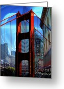 Little Italy Greeting Cards - I Left My Heart In San Francisco . Golden Gate Bridge . Transamerica Pyramid . North Beach Greeting Card by Wingsdomain Art and Photography