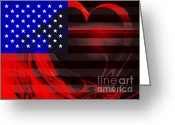 Made In The Usa Digital Art Greeting Cards - I Love America Greeting Card by Wingsdomain Art and Photography