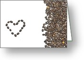 Coffee Beans Greeting Cards - I love coffee Greeting Card by Joana Kruse