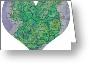 Road Map Greeting Cards - I Love Ireland Heart Map Greeting Card by Georgia Fowler