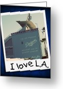 Baseball Print Greeting Cards - I Love LA Greeting Card by Ricky Barnard