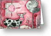 Surreal Art Greeting Cards - I LOVE MOO Original MADART Painting Greeting Card by Megan Duncanson