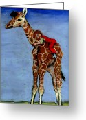 Young Pastels Greeting Cards - I Love My Very Own Giraffe Greeting Card by Cheryl Whitehall