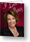 Democrat Painting Greeting Cards - I Love Nancy Greeting Card by Reggie Duffie