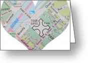 Road Map Greeting Cards - I Love Paris Heart Map Greeting Card by Georgia Fowler