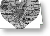 Road Map Greeting Cards - I Love Paris in Black and White Greeting Card by Georgia Fowler