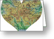 Road Map Greeting Cards - I Love Scotland Heart Map Greeting Card by Georgia Fowler