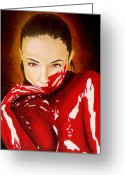 Vampire Painting Greeting Cards - I love the taste of Arrogance Greeting Card by Al  Molina