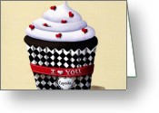 Black Greeting Cards - I Love You Cupcake Greeting Card by Catherine Holman