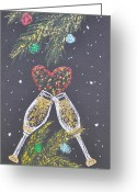 Ornaments Painting Greeting Cards - I Love You Greeting Card by Georgeta  Blanaru