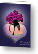 Stretched Canvas Greeting Cards - I love you Greeting Card by Gerlinde Keating - Keating Associates Inc