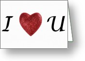 I Love You Script Greeting Cards - I love you sign on white background Greeting Card by Sami Sarkis