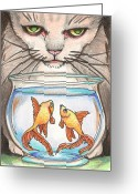 Frighten Greeting Cards - I Loves Fishes Greeting Card by Amy S Turner