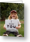 Little Boy Photo Greeting Cards - I Luv You Greeting Card by Ken Smith