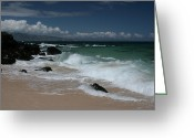 Golden Sand Greeting Cards - i miha kai i ka aina Hookipa Beach Maui North Shore Hawaii Greeting Card by Sharon Mau