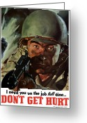 Tommy Gun Greeting Cards - I Need You On The Job Full Time Greeting Card by War Is Hell Store