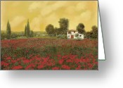 Poppy Greeting Cards - I Papaveri E La Calda Estate Greeting Card by Guido Borelli