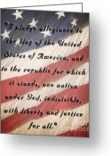 Pledge Of Allegiance Greeting Cards - I Pledge Greeting Card by Pam  Holdsworth