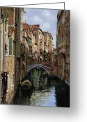Boat Greeting Cards - I Ponti A Venezia Greeting Card by Guido Borelli